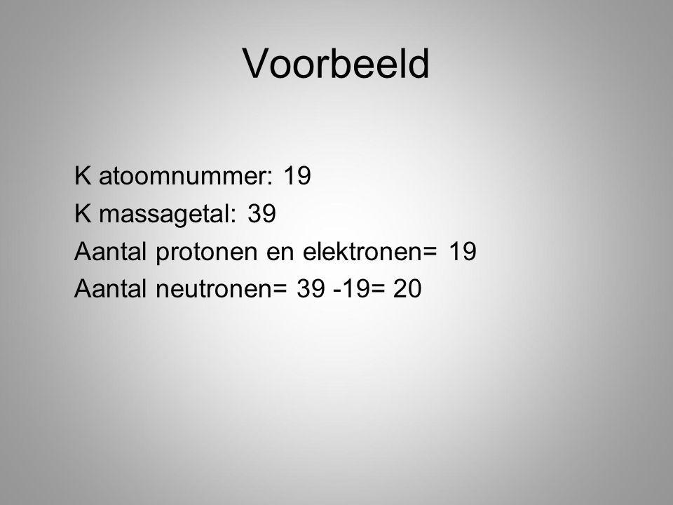 Voorbeeld K atoomnummer: 19 K massagetal: 39 Aantal protonen en elektronen= 19 Aantal neutronen= 39 -19= 20