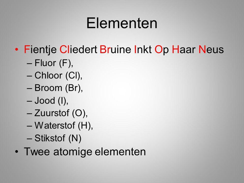 Elementen Fientje Cliedert Bruine Inkt Op Haar Neus –Fluor (F), –Chloor (Cl), –Broom (Br), –Jood (I), –Zuurstof (O), –Waterstof (H), –Stikstof (N) Twee atomige elementen