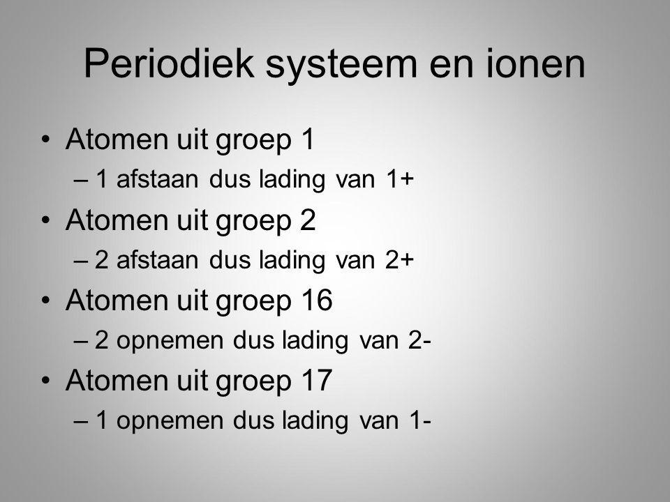 Periodiek systeem en ionen Atomen uit groep 1 –1 afstaan dus lading van 1+ Atomen uit groep 2 –2 afstaan dus lading van 2+ Atomen uit groep 16 –2 opnemen dus lading van 2- Atomen uit groep 17 –1 opnemen dus lading van 1-