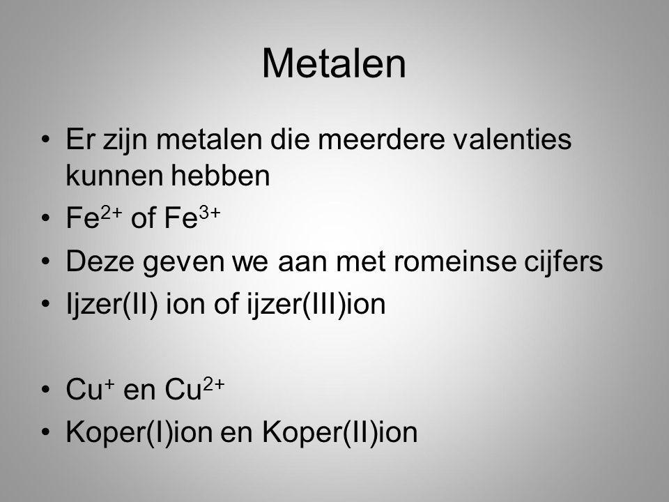 Metalen Er zijn metalen die meerdere valenties kunnen hebben Fe 2+ of Fe 3+ Deze geven we aan met romeinse cijfers Ijzer(II) ion of ijzer(III)ion Cu + en Cu 2+ Koper(I)ion en Koper(II)ion