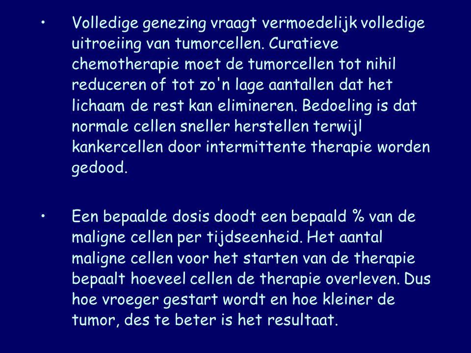 Volledige genezing vraagt vermoedelijk volledige uitroeiing van tumorcellen. Curatieve chemotherapie moet de tumorcellen tot nihil reduceren of tot zo