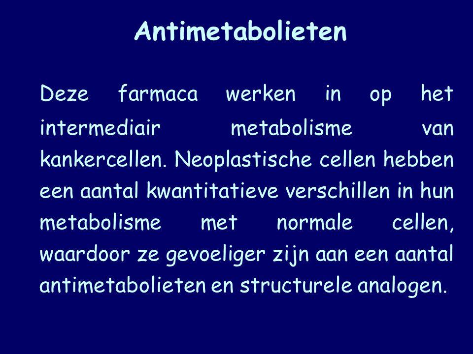 Antimetabolieten Deze farmaca werken in op het intermediair metabolisme van kankercellen. Neoplastische cellen hebben een aantal kwantitatieve verschi