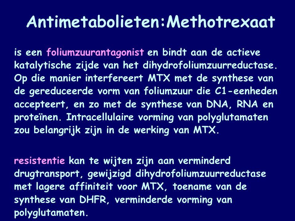 Antimetabolieten:Methotrexaat is een foliumzuurantagonist en bindt aan de actieve katalytische zijde van het dihydrofoliumzuurreductase. Op die manier