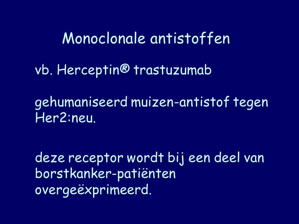 Monoclonale antistoffen vb. Herceptin® trastuzumab gehumaniseerd muizen-antistof tegen Her2:neu. deze receptor wordt bij een deel van borstkanker-pati