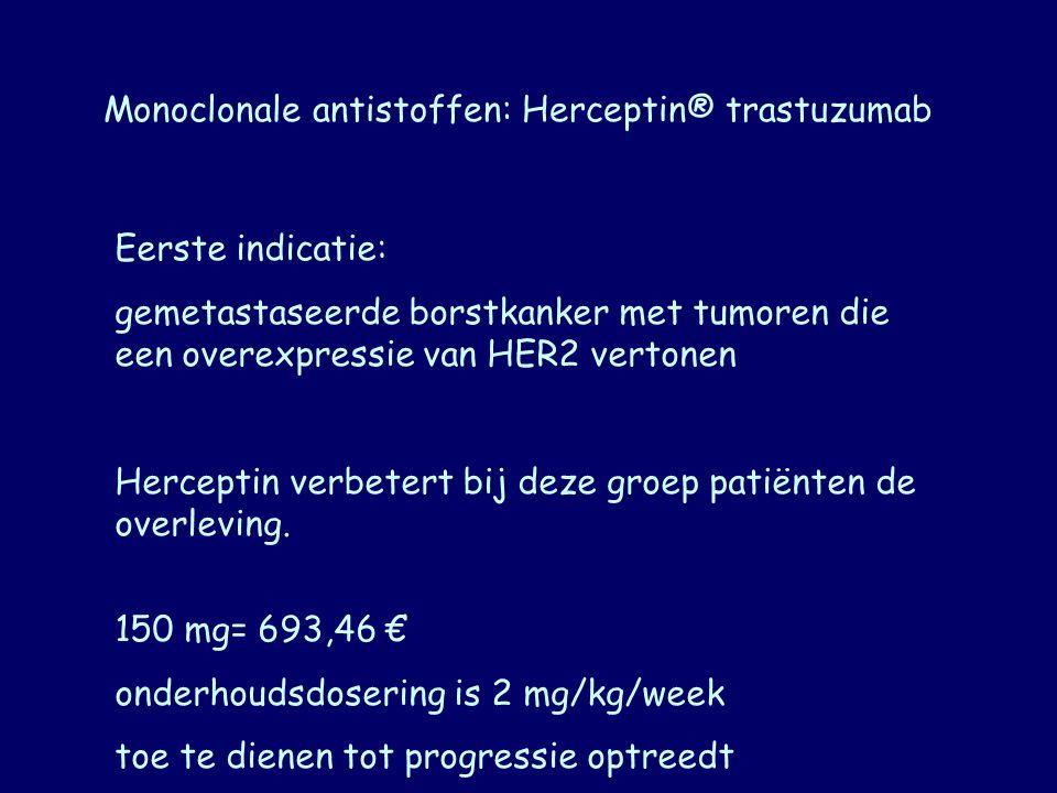 Monoclonale antistoffen: Herceptin® trastuzumab Eerste indicatie: gemetastaseerde borstkanker met tumoren die een overexpressie van HER2 vertonen Herc