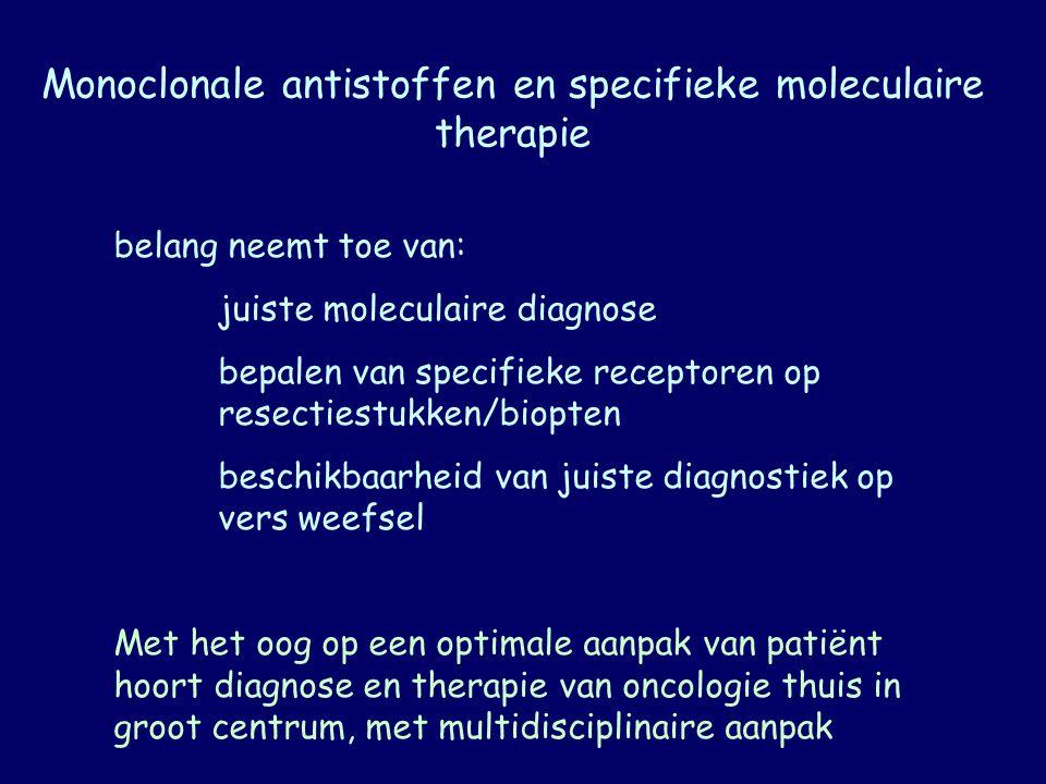 Monoclonale antistoffen en specifieke moleculaire therapie belang neemt toe van: juiste moleculaire diagnose bepalen van specifieke receptoren op rese