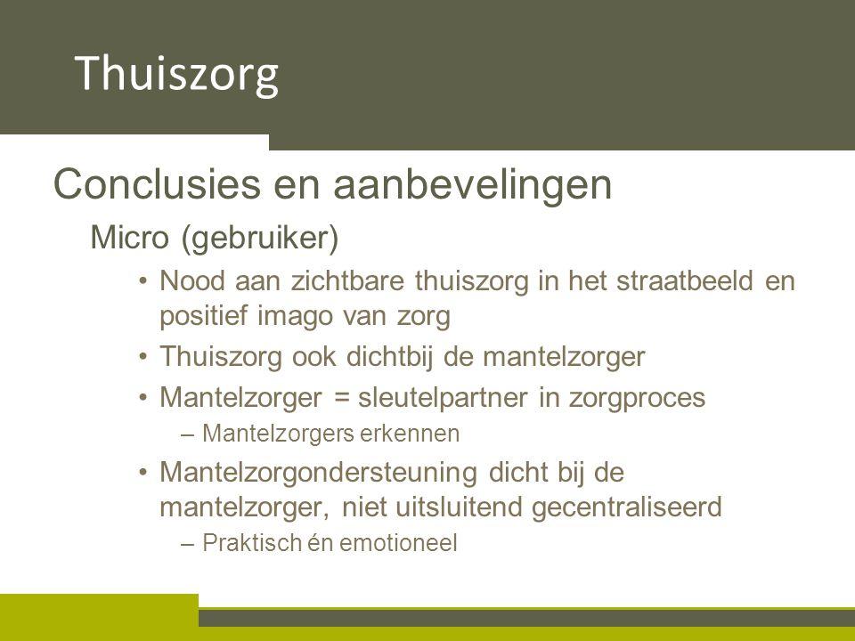 4.2 Taakverdeling en samenwerking Conclusies en aanbevelingen Micro (gebruiker) Nood aan zichtbare thuiszorg in het straatbeeld en positief imago van