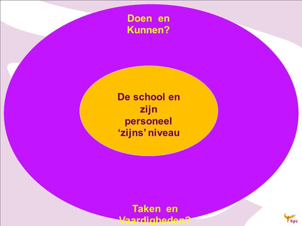 Doen en Kunnen? Taken en Vaardigheden? De school en zijn personeel 'zijns' niveau
