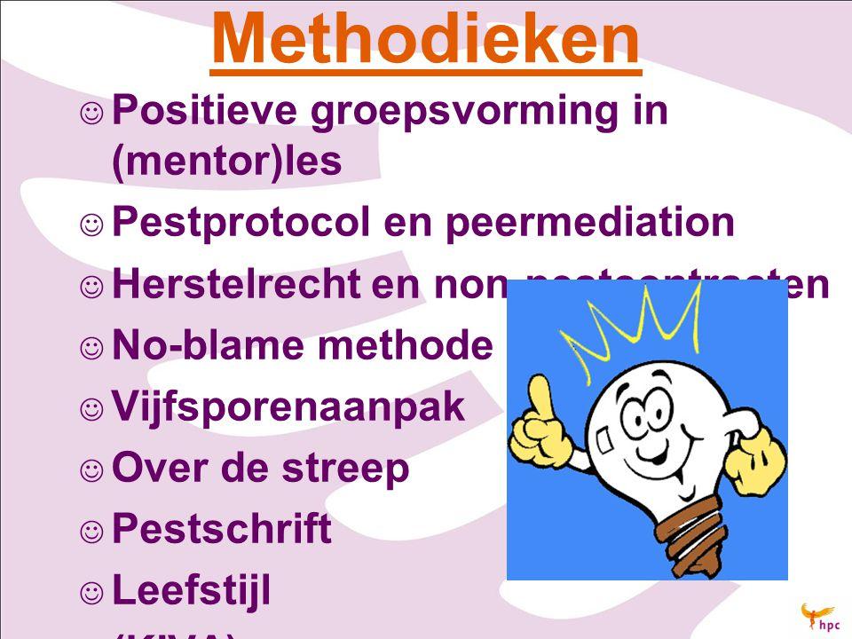 Methodieken Positieve groepsvorming in (mentor)les Pestprotocol en peermediation Herstelrecht en non-pestcontracten No-blame methode Vijfsporenaanpak