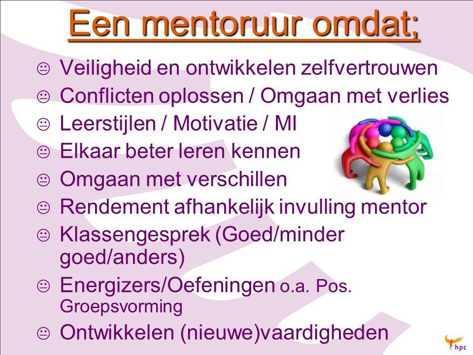 Een mentoruur omdat;   Veiligheid en ontwikkelen zelfvertrouwen   Conflicten oplossen / Omgaan met verlies   Leerstijlen / Motivatie / MI   El