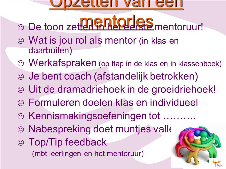 Opzetten van een mentorles   De toon zetten in het eerste mentoruur!   Wat is jou rol als mentor (in klas en daarbuiten)   Werkafspraken (op fla