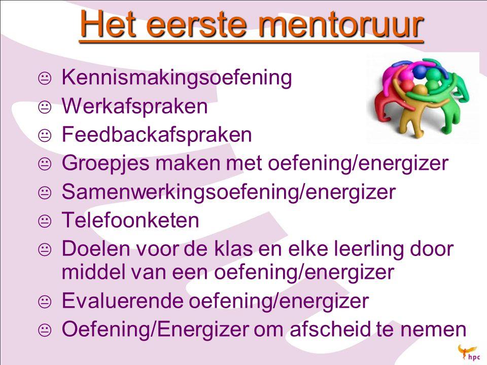 Het eerste mentoruur   Kennismakingsoefening   Werkafspraken   Feedbackafspraken   Groepjes maken met oefening/energizer   Samenwerkingsoefe