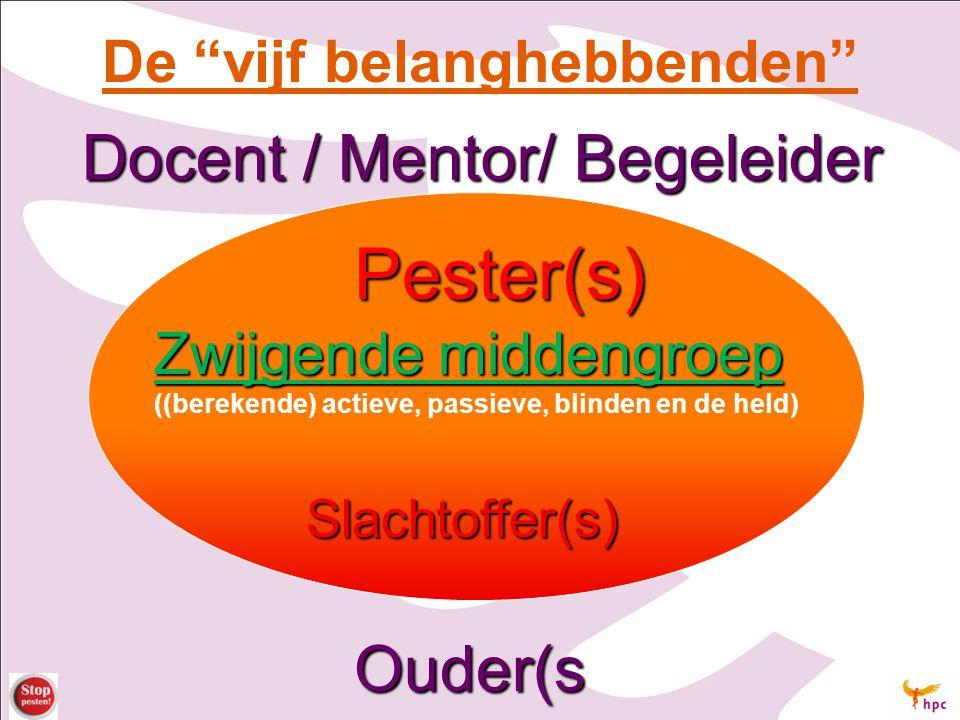 """De """"vijf belanghebbenden"""" Docent / Mentor/ Begeleider Pester(s) Zwijgende middengroep ((berekende) actieve, passieve, blinden en de held) Slachtoffer("""