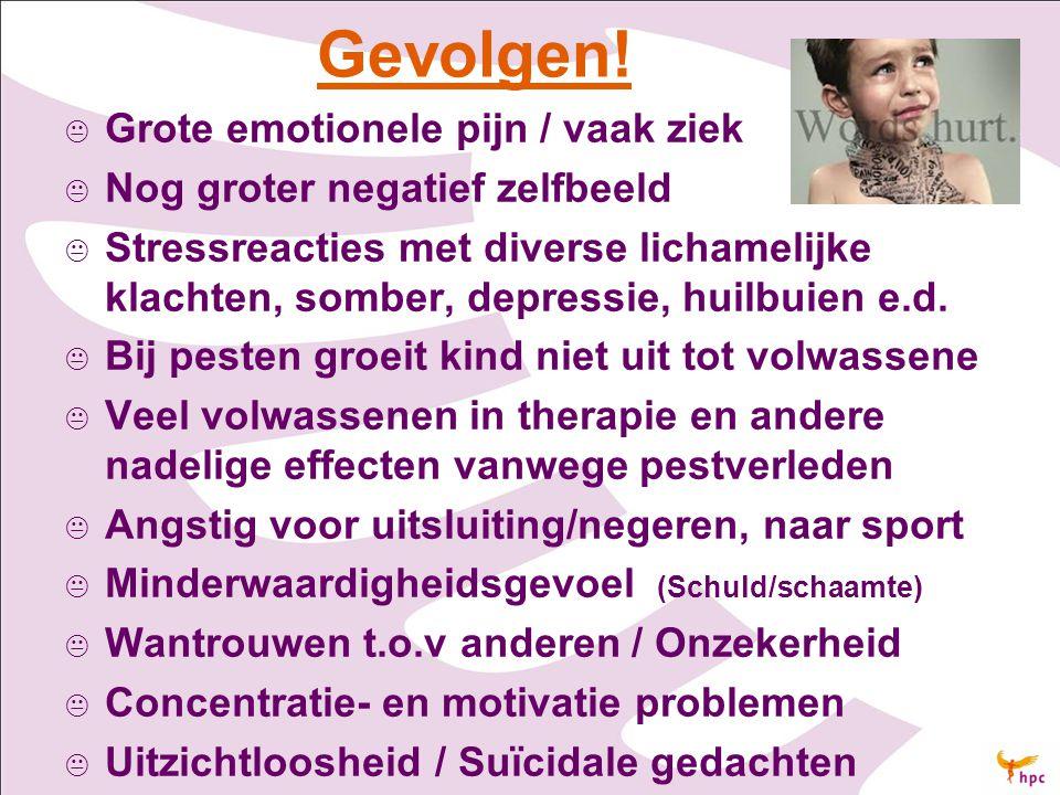 Gevolgen!   Grote emotionele pijn / vaak ziek   Nog groter negatief zelfbeeld   Stressreacties met diverse lichamelijke klachten, somber, depres