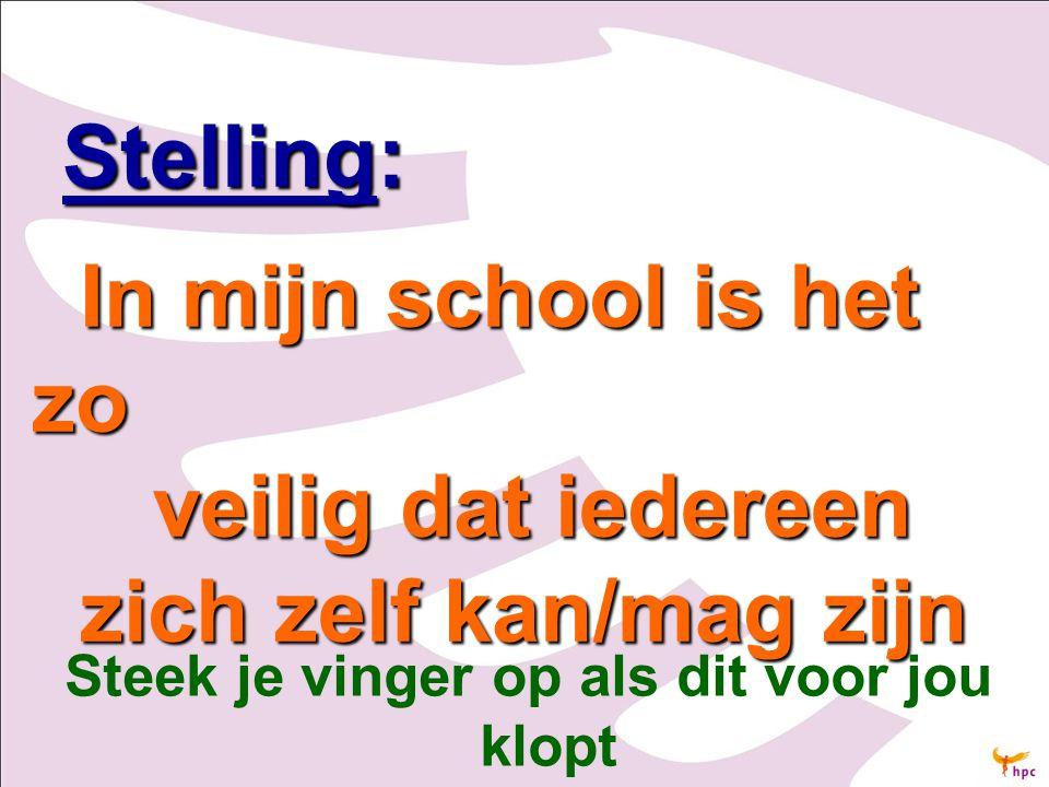 Stelling: Stelling: In mijn school is het zo In mijn school is het zo veilig dat iedereen veilig dat iedereen zich zelf kan/mag zijn zich zelf kan/mag