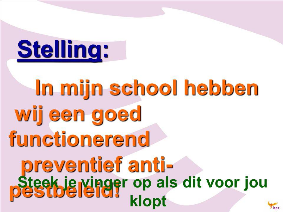 Stelling: Stelling: In mijn school hebben wij een goed functionerend preventief anti- pestbeleid! In mijn school hebben wij een goed functionerend pre