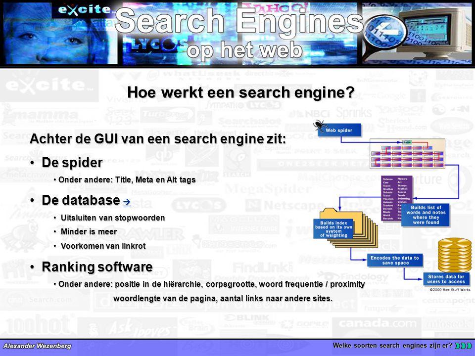 Welke soorten search engines zijn er. Hoe werkt een search engine.