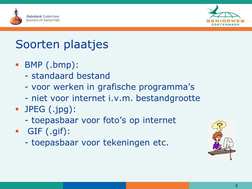 Rabobank Zoetermeer Sponsor v/h SeniorWeb Soorten plaatjes  BMP (.bmp): - standaard bestand - voor werken in grafische programma's - niet voor internet i.v.m.
