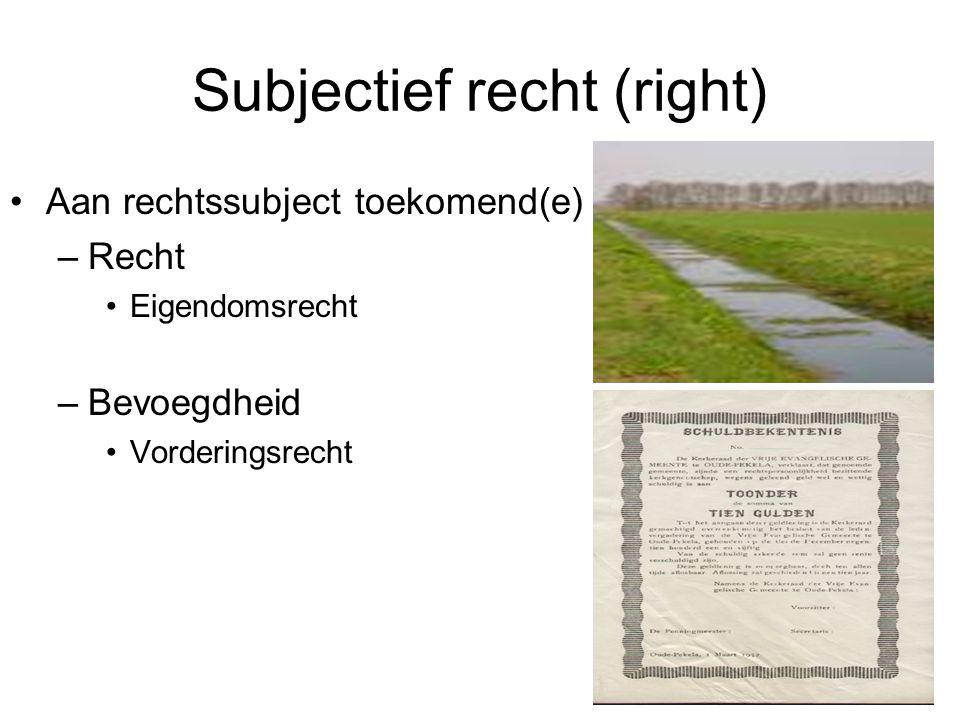 Subjectief recht (right) Aan rechtssubject toekomend(e) –Recht Eigendomsrecht –Bevoegdheid Vorderingsrecht