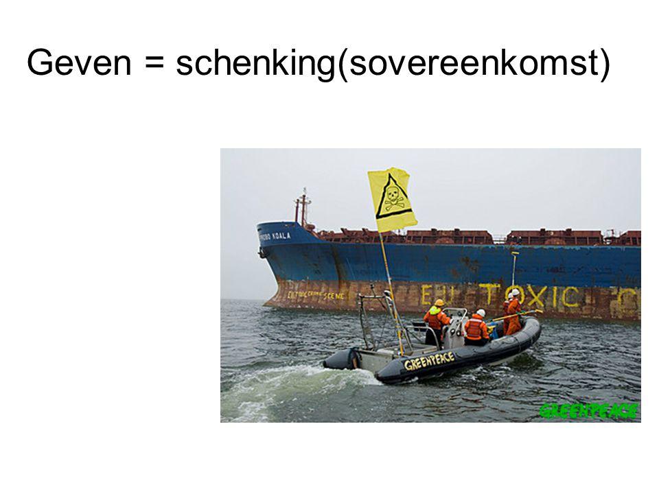 Geven = schenking(sovereenkomst)