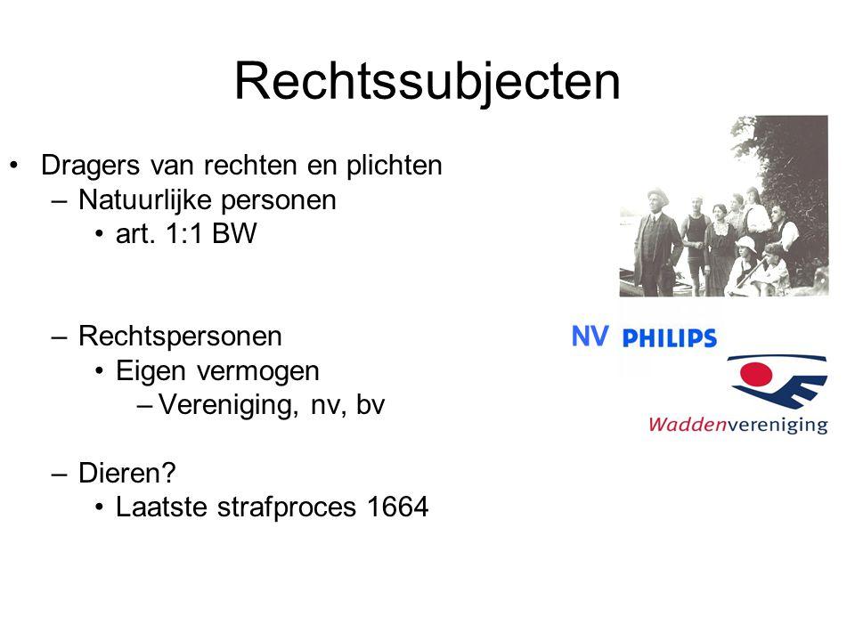 Rechtssubjecten Dragers van rechten en plichten –Natuurlijke personen art.