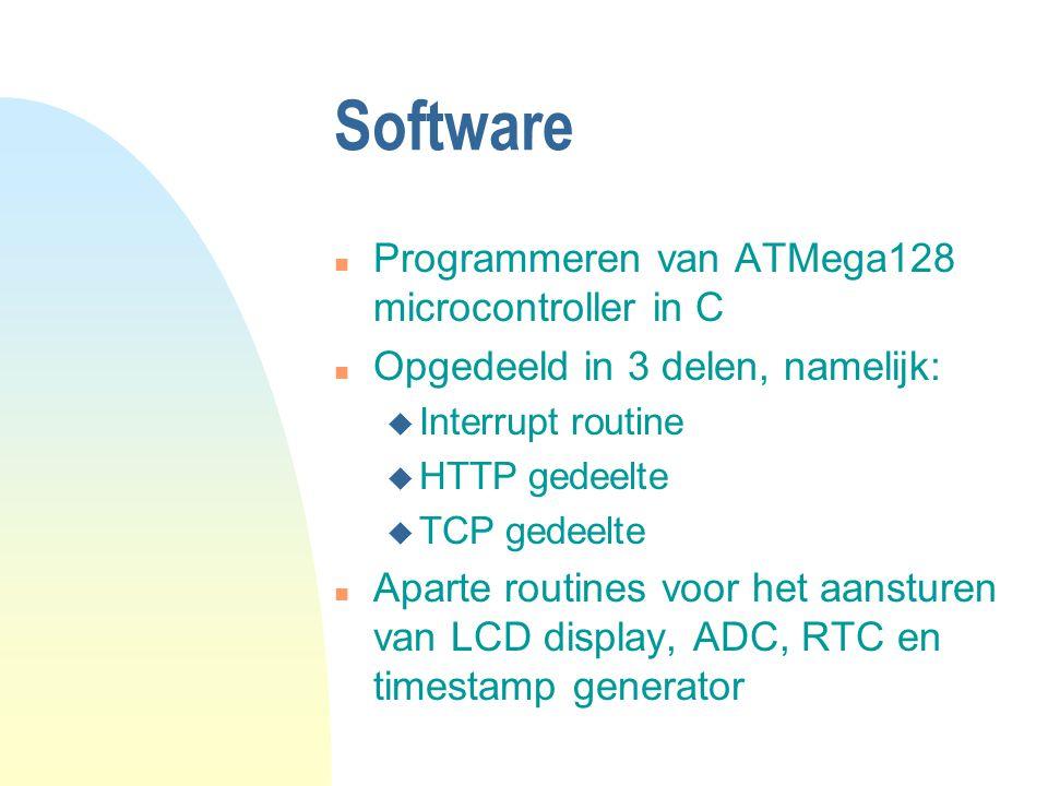 Software n Programmeren van ATMega128 microcontroller in C n Opgedeeld in 3 delen, namelijk: u Interrupt routine u HTTP gedeelte u TCP gedeelte n Aparte routines voor het aansturen van LCD display, ADC, RTC en timestamp generator
