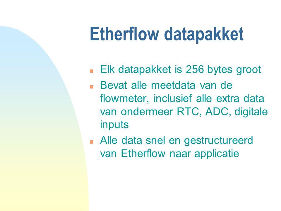 Etherflow datapakket n Elk datapakket is 256 bytes groot n Bevat alle meetdata van de flowmeter, inclusief alle extra data van ondermeer RTC, ADC, digitale inputs n Alle data snel en gestructureerd van Etherflow naar applicatie