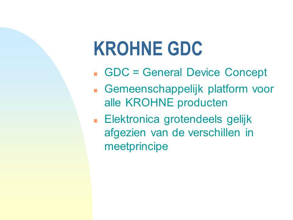 KROHNE GDC n GDC = General Device Concept n Gemeenschappelijk platform voor alle KROHNE producten n Elektronica grotendeels gelijk afgezien van de verschillen in meetprincipe