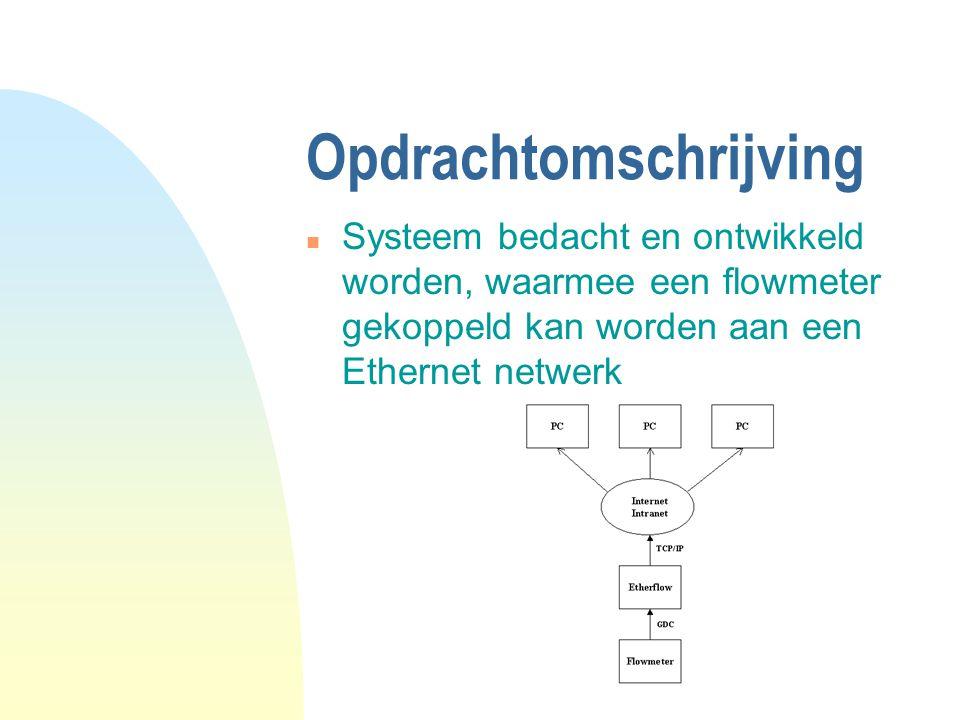 Opdrachtomschrijving n Systeem bedacht en ontwikkeld worden, waarmee een flowmeter gekoppeld kan worden aan een Ethernet netwerk