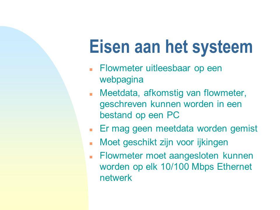Eisen aan het systeem n Flowmeter uitleesbaar op een webpagina n Meetdata, afkomstig van flowmeter, geschreven kunnen worden in een bestand op een PC n Er mag geen meetdata worden gemist n Moet geschikt zijn voor ijkingen n Flowmeter moet aangesloten kunnen worden op elk 10/100 Mbps Ethernet netwerk
