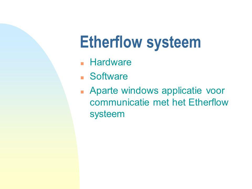Etherflow systeem n Hardware n Software n Aparte windows applicatie voor communicatie met het Etherflow systeem