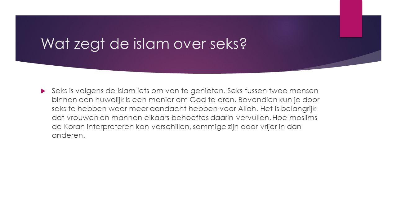 Wat zegt de islam over seks?  Seks is volgens de islam iets om van te genieten. Seks tussen twee mensen binnen een huwelijk is een manier om God te e