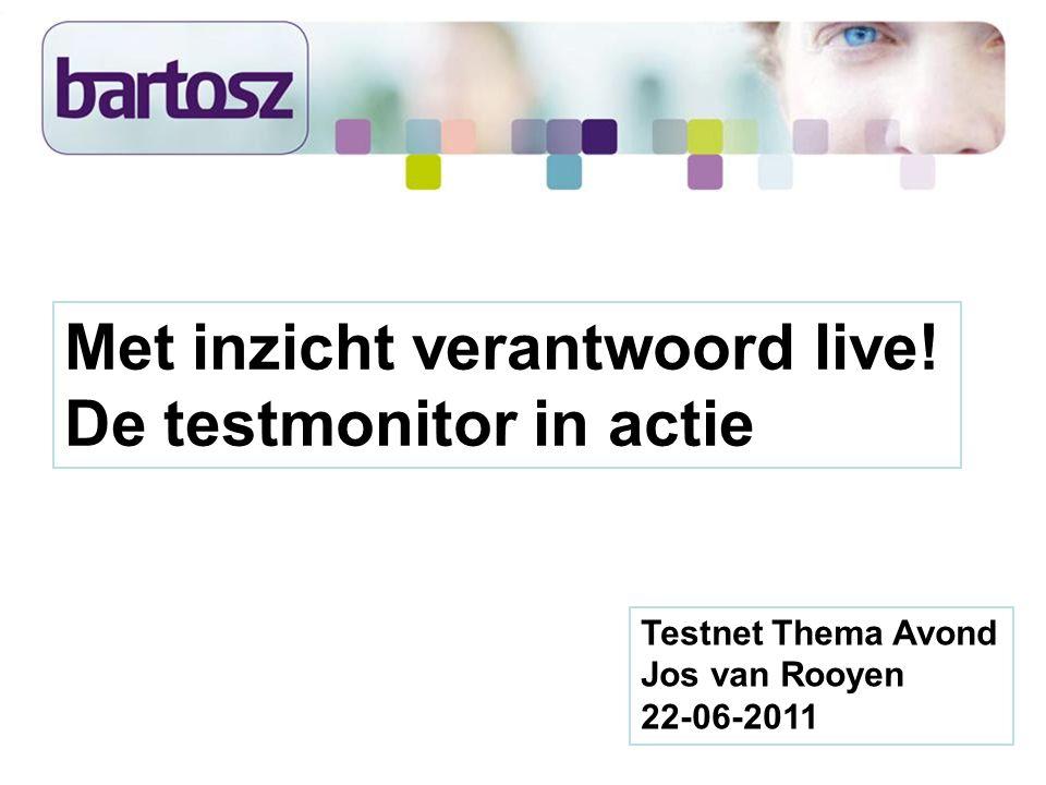 Testnet Thema Avond Jos van Rooyen 22-06-2011 Met inzicht verantwoord live! De testmonitor in actie