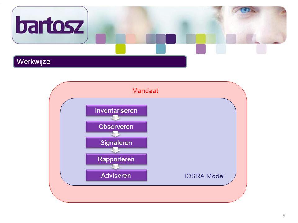 9 Werkwijze (2) IOSRA model: Inventariseren Vaststellen welke producten en processen aan welke eisen moeten voldoen Vastlegging in de traceability matrix Observeren Meten van het proces en product middels reviews en steekproeven Signaleren Delta's in het proces en product benoemen