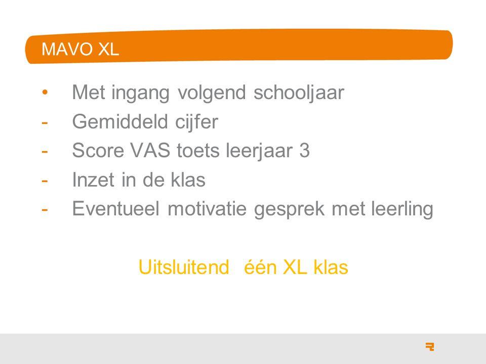 MAVO XL Met ingang volgend schooljaar -Gemiddeld cijfer -Score VAS toets leerjaar 3 -Inzet in de klas -Eventueel motivatie gesprek met leerling Uitslu