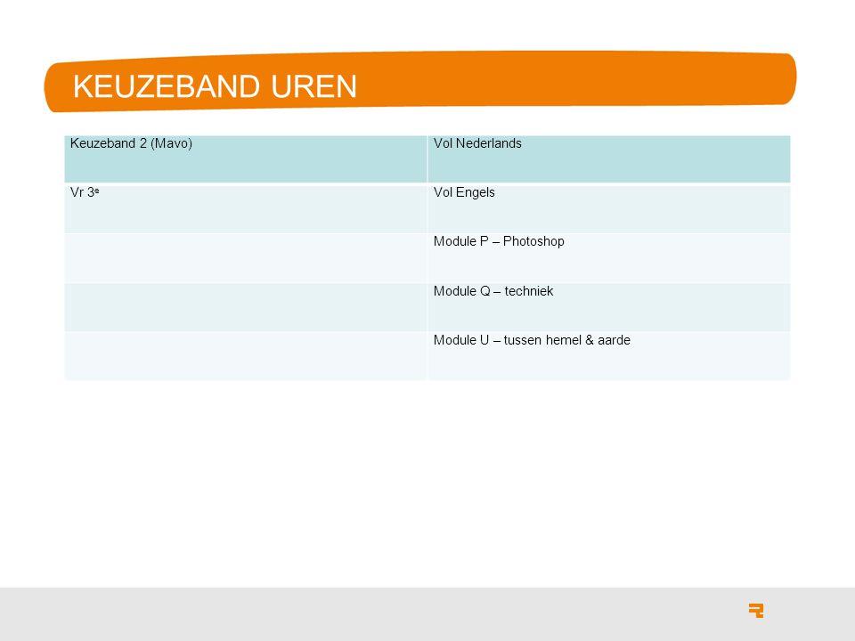 KEUZEBAND UREN Keuzeband 2 (Mavo)Vol Nederlands Vr 3 e Vol Engels Module P – Photoshop Module Q – techniek Module U – tussen hemel & aarde