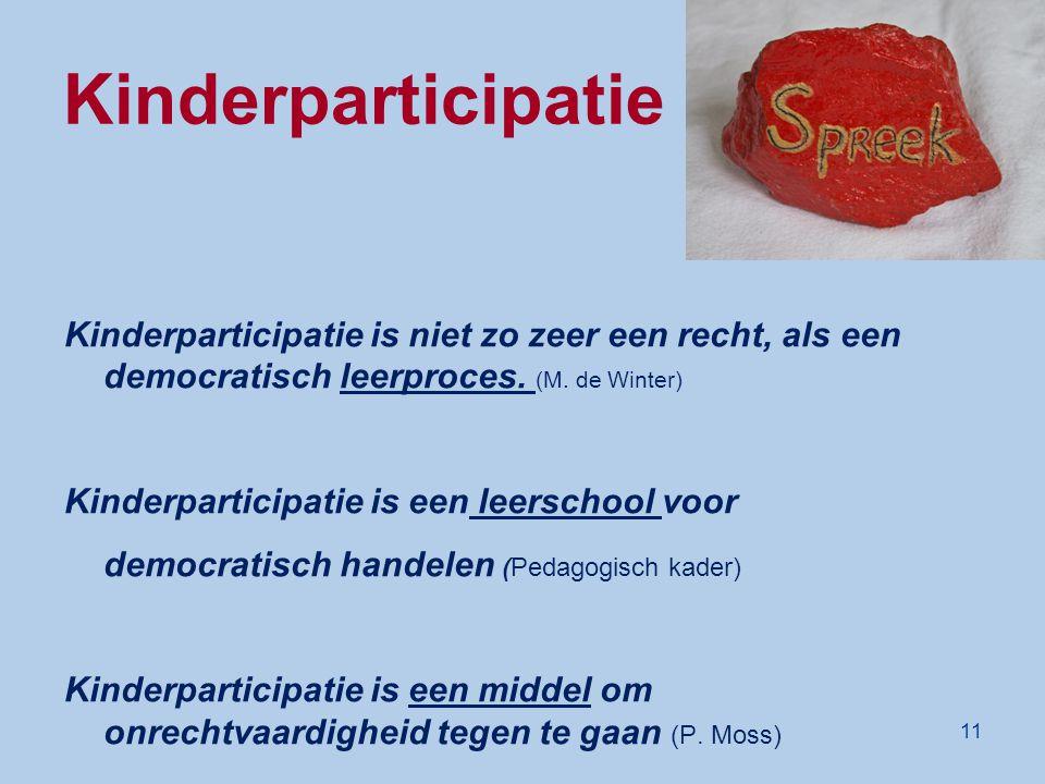 Kinderparticipatie De spreeksteen Kinderparticipatie is niet zo zeer een recht, als een democratisch leerproces. (M. de Winter) Kinderparticipatie is
