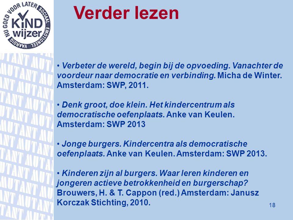 Verder lezen Verbeter de wereld, begin bij de opvoeding. Vanachter de voordeur naar democratie en verbinding. Micha de Winter. Amsterdam: SWP, 2011. D