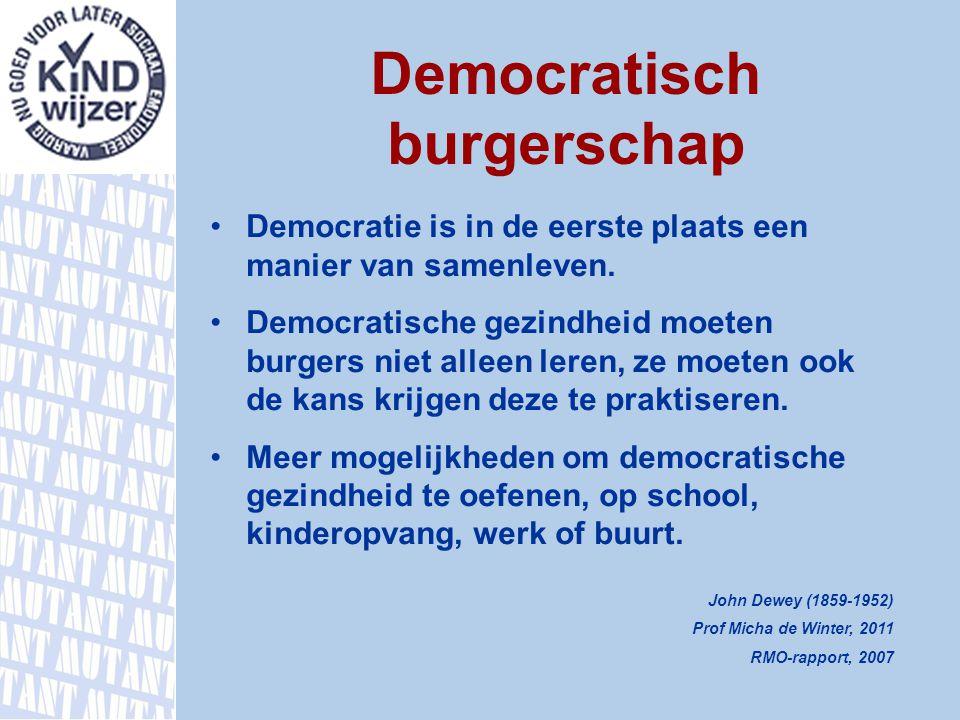Democratisch burgerschap Democratie is in de eerste plaats een manier van samenleven. Democratische gezindheid moeten burgers niet alleen leren, ze mo