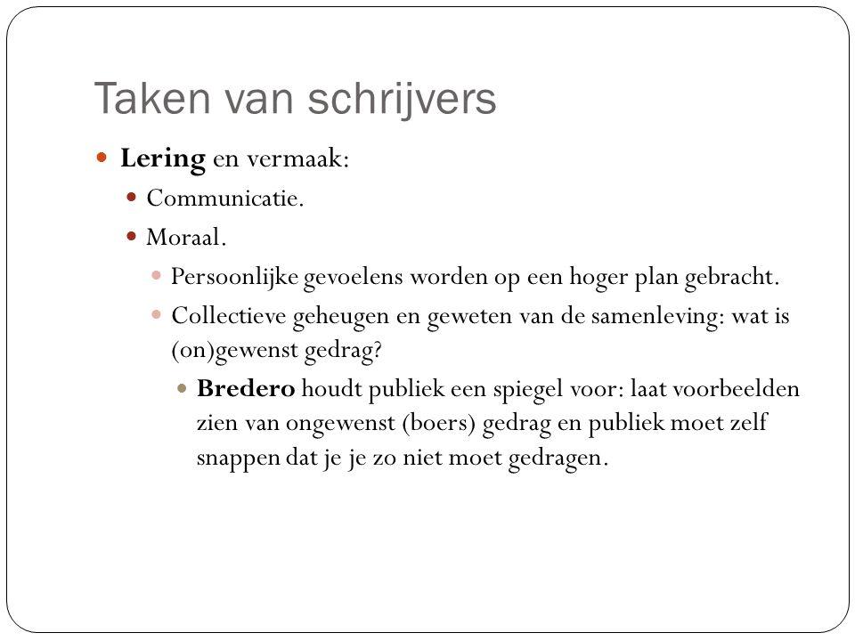 Taken van schrijvers Lering en vermaak: Communicatie.
