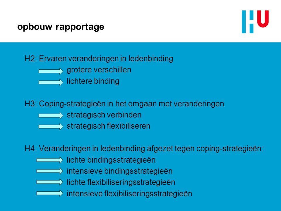 opbouw rapportage H2: Ervaren veranderingen in ledenbinding grotere verschillen lichtere binding H3: Coping-strategieën in het omgaan met veranderinge