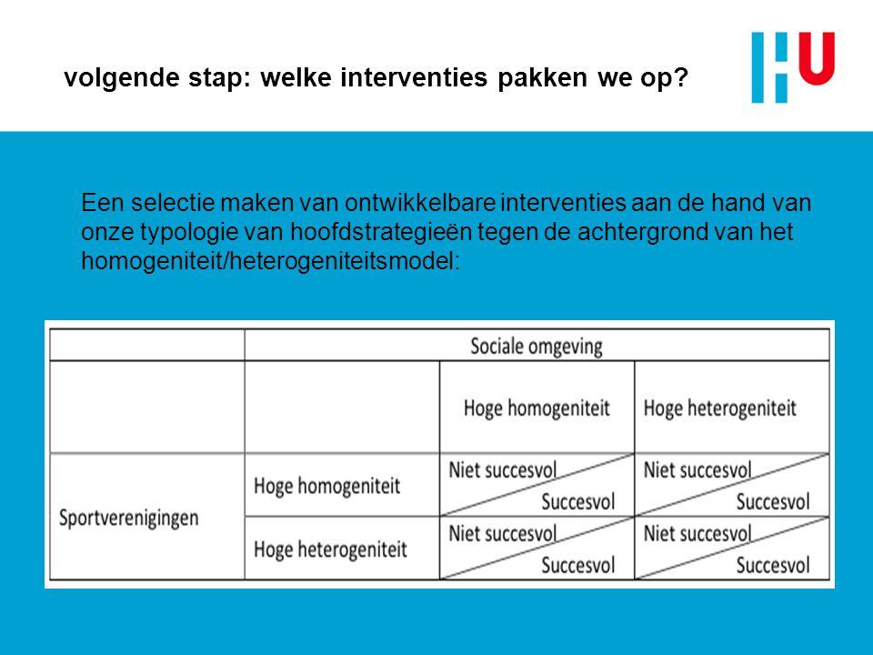 volgende stap: welke interventies pakken we op? Een selectie maken van ontwikkelbare interventies aan de hand van onze typologie van hoofdstrategieën