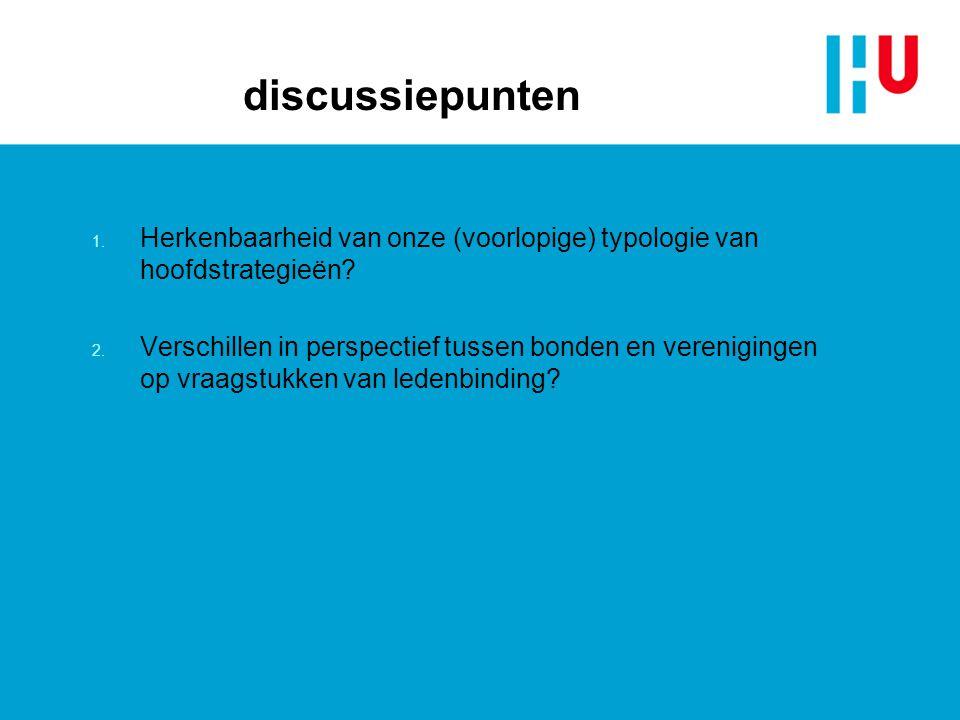 discussiepunten 1. Herkenbaarheid van onze (voorlopige) typologie van hoofdstrategieën? 2. Verschillen in perspectief tussen bonden en verenigingen op