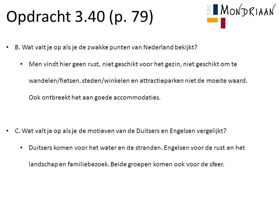 Opdracht 3.40 (p. 79) B. Wat valt je op als je de zwakke punten van Nederland bekijkt? Men vindt hier geen rust, niet geschikt voor het gezin, niet ge