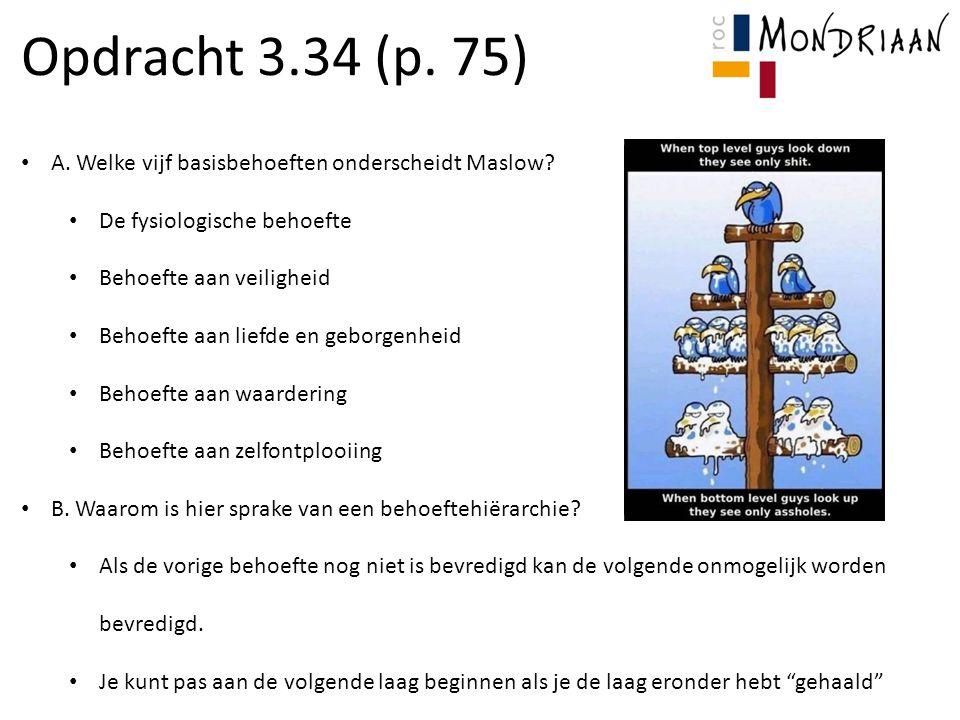 Opdracht 3.34 (p. 75) A. Welke vijf basisbehoeften onderscheidt Maslow? De fysiologische behoefte Behoefte aan veiligheid Behoefte aan liefde en gebor