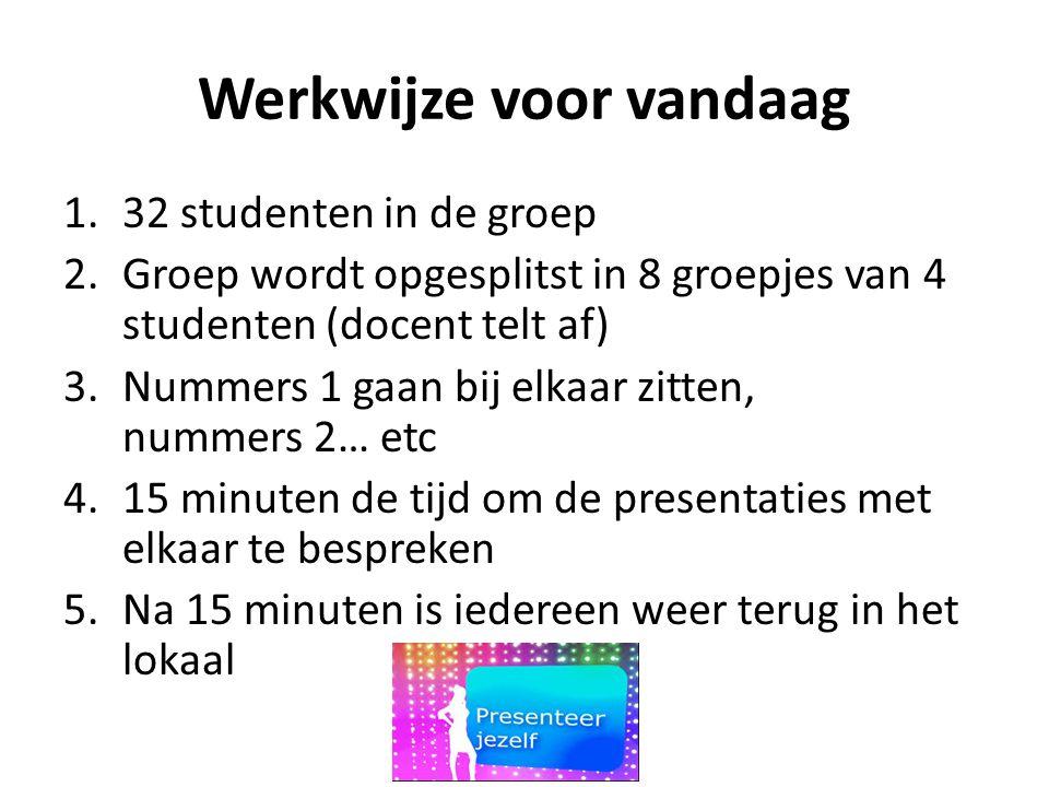 Werkwijze voor vandaag 1.32 studenten in de groep 2.Groep wordt opgesplitst in 8 groepjes van 4 studenten (docent telt af) 3.Nummers 1 gaan bij elkaar