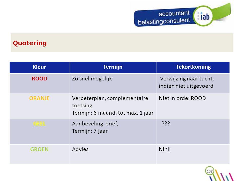 108 Quotering KleurTermijn Tekortkoming ROODZo snel mogelijk Verwijzing naar tucht, indien niet uitgevoerd ORANJEVerbeterplan, complementaire toetsing Termijn: 6 maand, tot max.