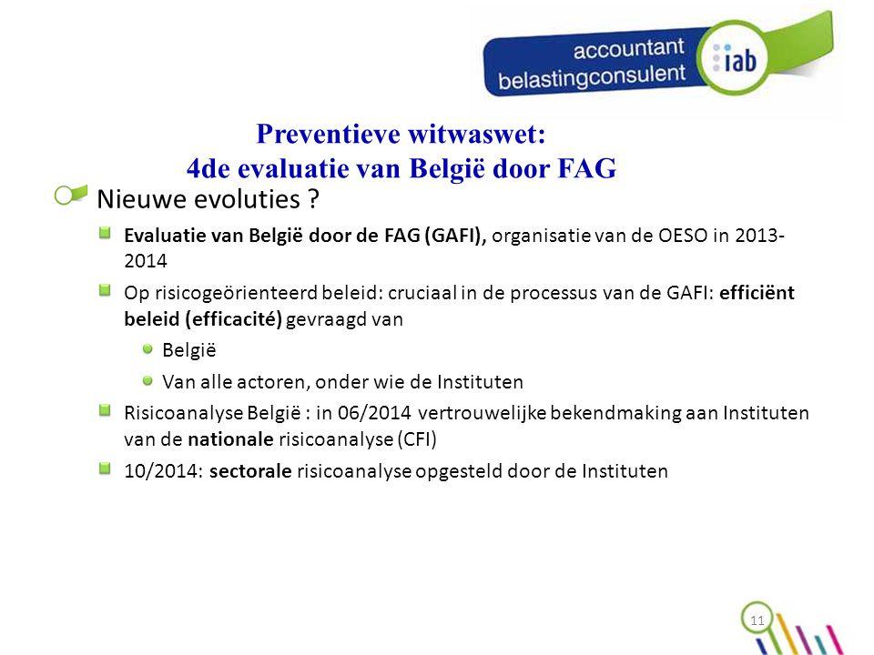 Preventieve witwaswet: 4de evaluatie van België door FAG Nieuwe evoluties .