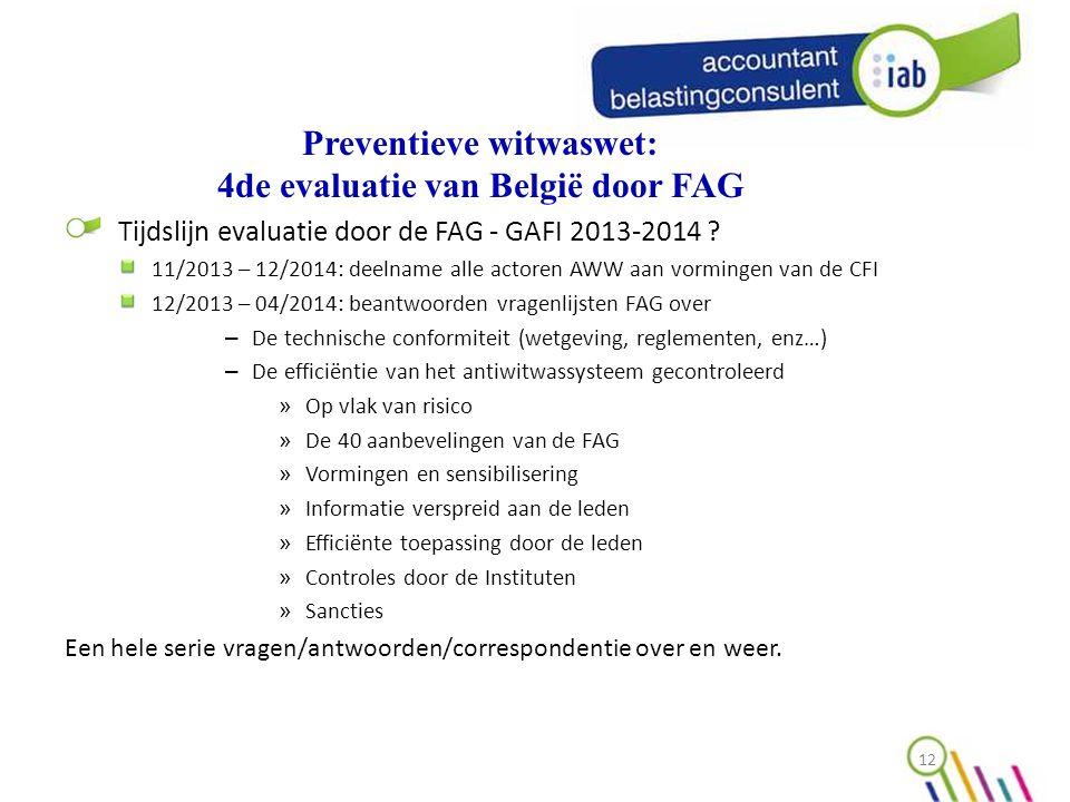 Preventieve witwaswet: 4de evaluatie van België door FAG Tijdslijn evaluatie door de FAG - GAFI 2013-2014 .
