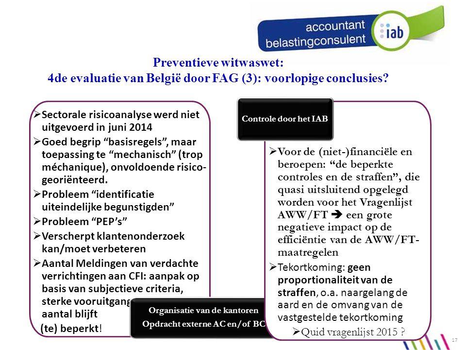  Sectorale risicoanalyse werd niet uitgevoerd in juni 2014  Goed begrip basisregels , maar toepassing te mechanisch (trop méchanique), onvoldoende risico- georiënteerd.